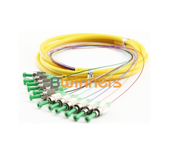 Single-Mode 12 Core FC APC Ribbon Optic Cable Pigtail